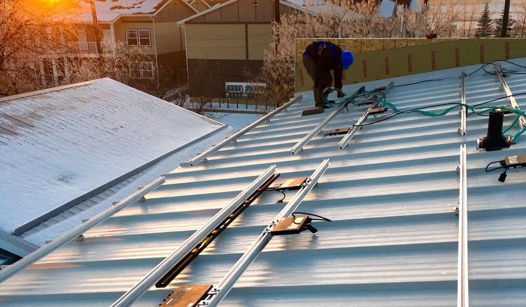 Solar panels installed on metal roof